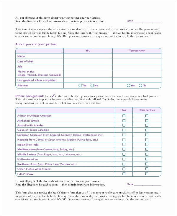 Sample Health History Best Of 10 Sample Medical History forms
