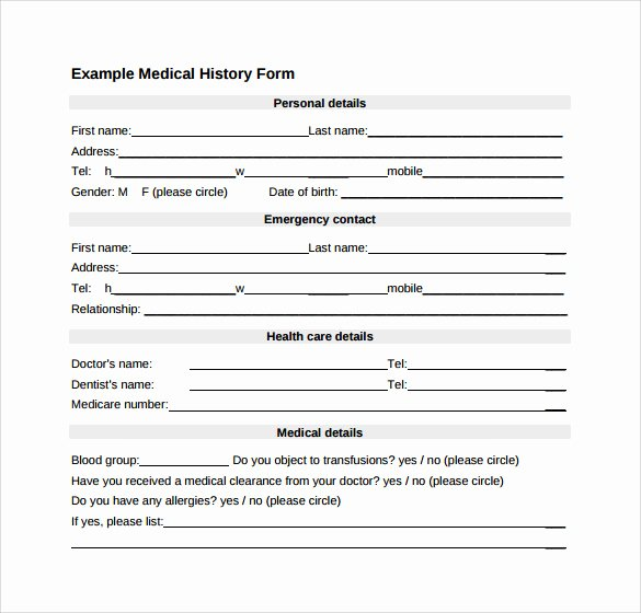 Sample Health History form Beautiful 15 Medical History forms