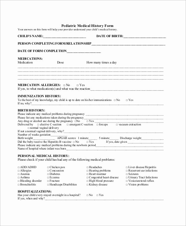 Sample Health History form Fresh Sample Medical History form 10 Examples In Word Pdf