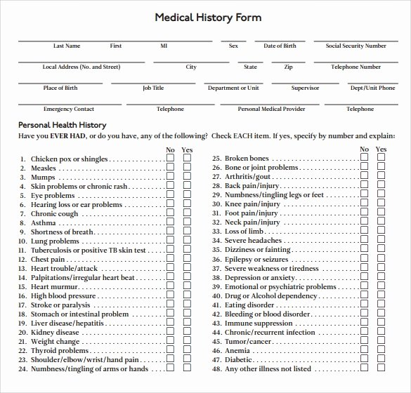 Sample Health History form New 15 Medical History forms
