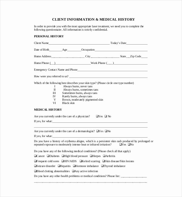 Sample Health History form New 21 Sample Medical History forms
