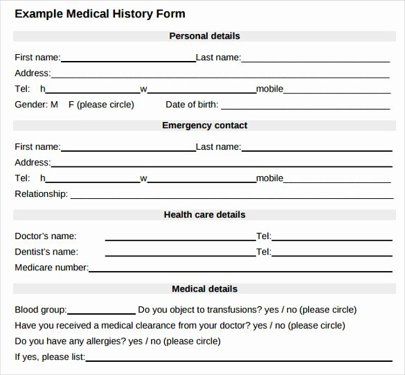 Sample Health History form New 8 Medical History forms