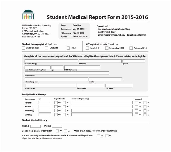 Sample Health History form New 9 Medical Report Templates Free Sample Example format