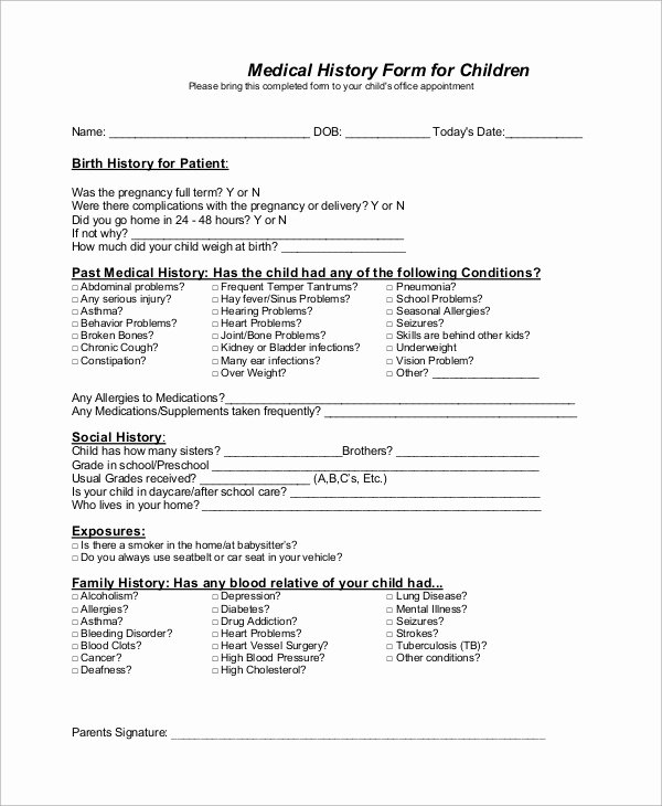 Sample Health History form Unique Sample Medical History form 10 Examples In Word Pdf