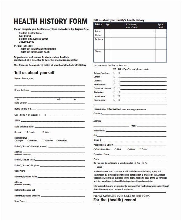 Sample Health History Fresh 10 Health History Templates