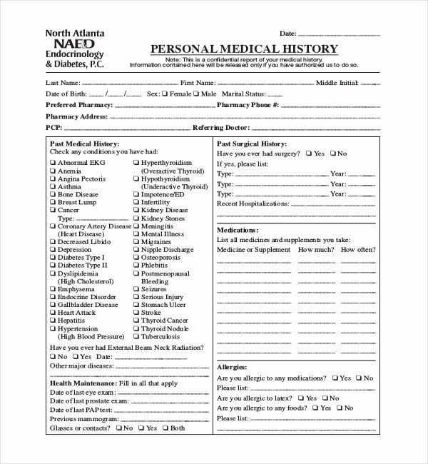 Sample Health History Fresh 21 Sample Medical History forms