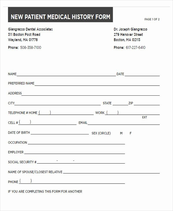Sample Health History Inspirational Medical forms In Pdf
