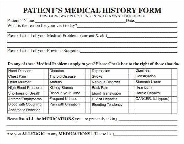 Sample Health History Unique 15 Medical History forms