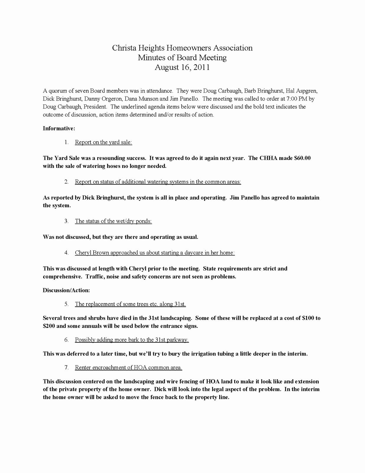 Sample Hoa Meeting Minutes Fresh Cool Board Engaging Board Meeting Minutes Board