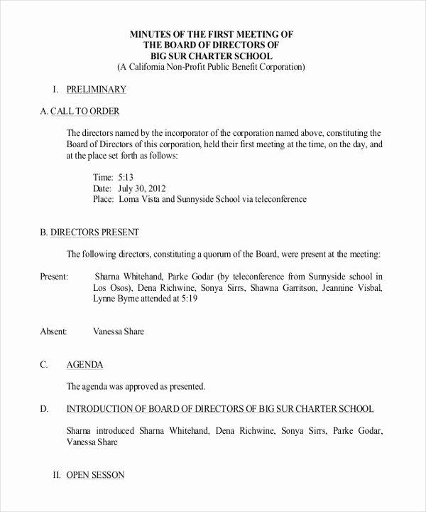 Sample Hoa Meeting Minutes Inspirational 17 Board Meeting Minutes Examples