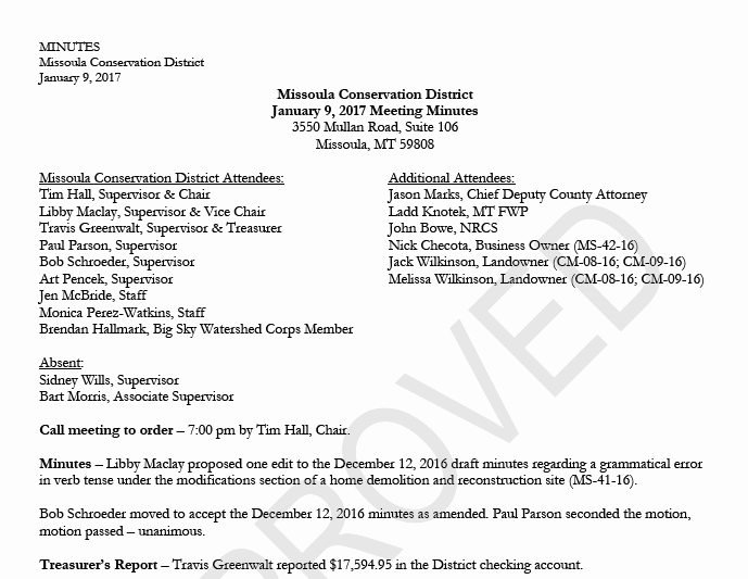 Sample Hoa Meeting Minutes Lovely January 9 2017 – Approved Meeting Minutes – Missoula