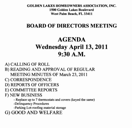 Sample Hoa Meeting Minutes Lovely Notice Of Hoa Board Meeting – Golden Lakes Homeowners
