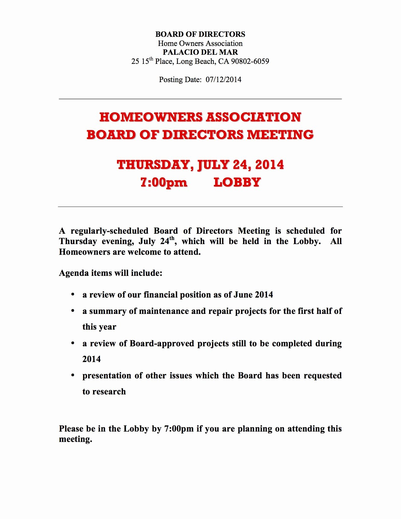 Sample Hoa Meeting Minutes New 26 Of Hoa Special Meeting Notice Template