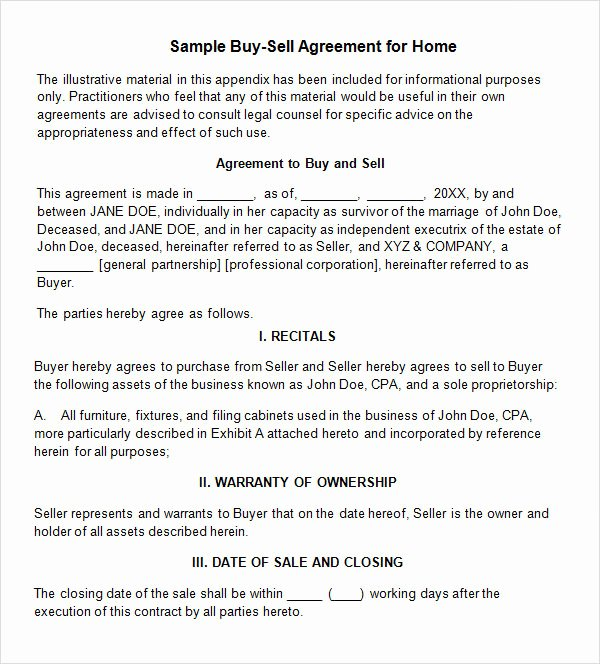 Sample Home Buyout Agreement New 18 Sample Buy Sell Agreement Templates Word Pdf Pages