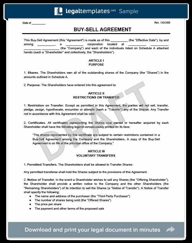 Sample Home Buyout Agreement New Buy Sell Agreement Template