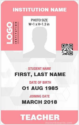 Sample Identity Card Inspirational 10 Best Ms Word Id Card Templates for Teachers Professors