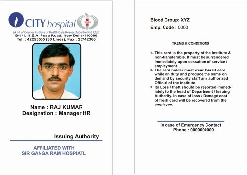 Sample Identity Card New Call Center & Other Industrial Identity Cards Industrial
