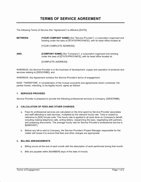 Sample Janitorial Contract Best Of Terms Of Service Agreement Template & Sample form