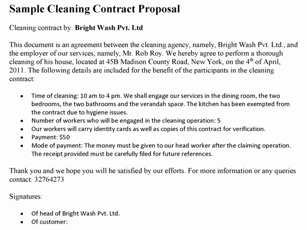 Sample Janitorial Contract Elegant Cleaning Contract Proposal Template