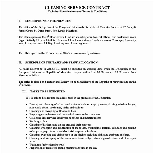 Sample Janitorial Contract Fresh 22 Cleaning Contract Templates Word Google Docs Pages
