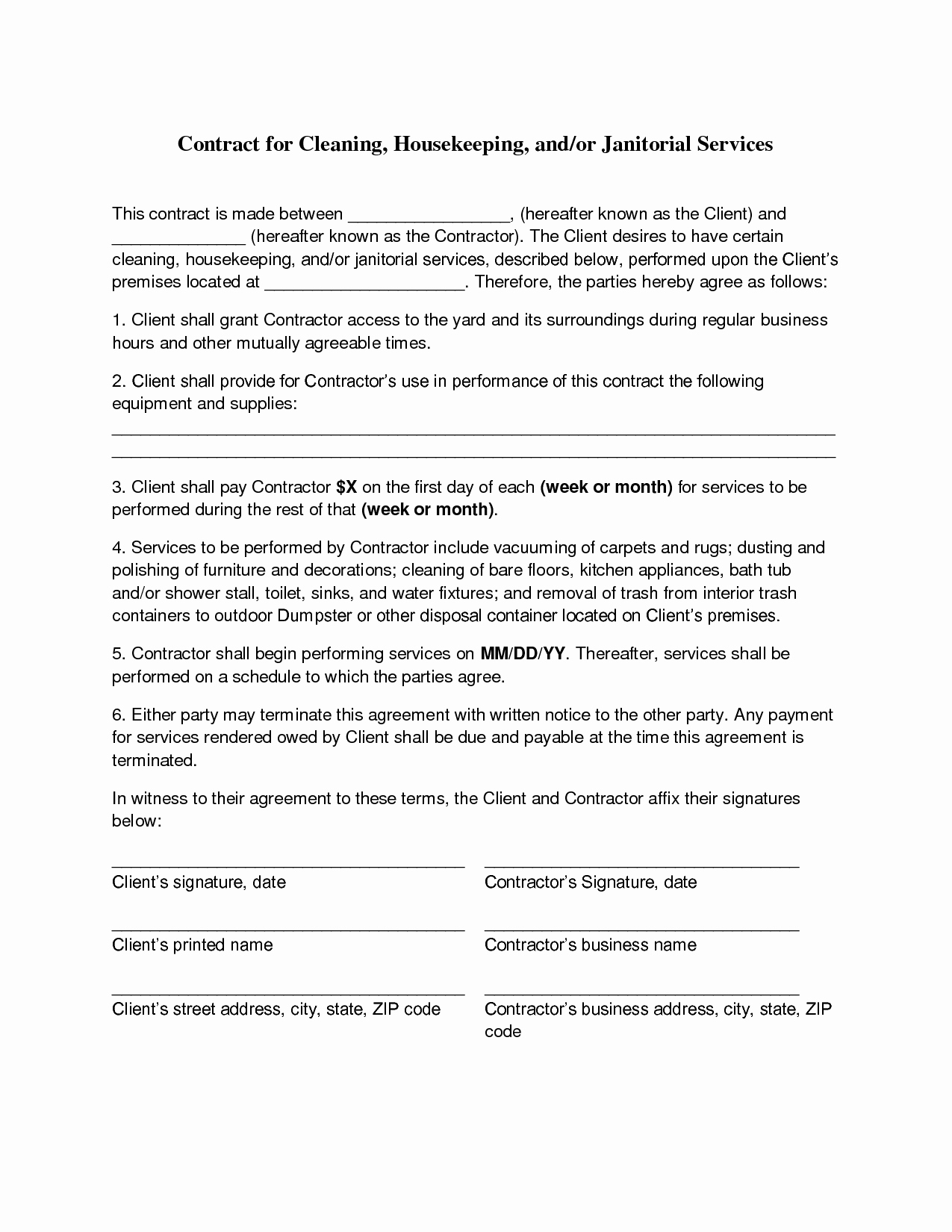 Sample Janitorial Contract Lovely Cleaning Contract Agreement