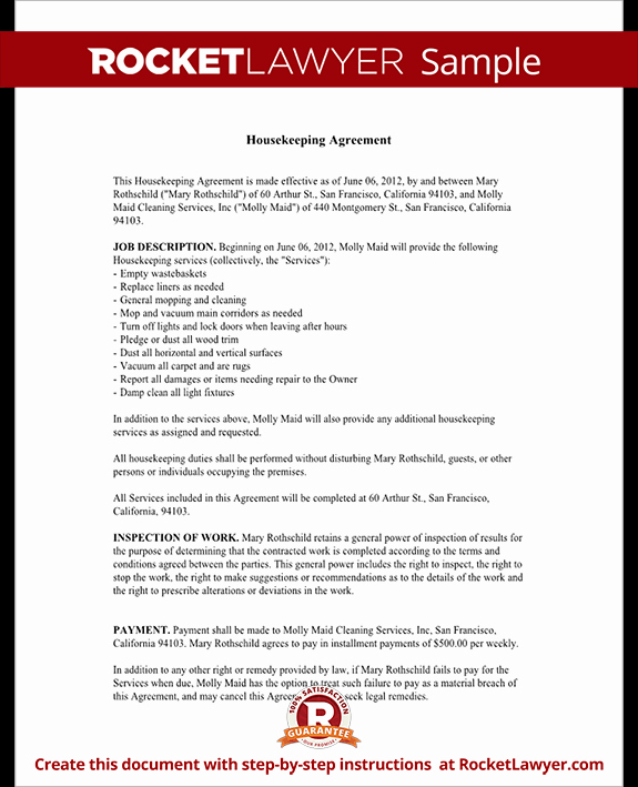 Sample Janitorial Contract Lovely Housekeeping Contract Agreement Template with Sample