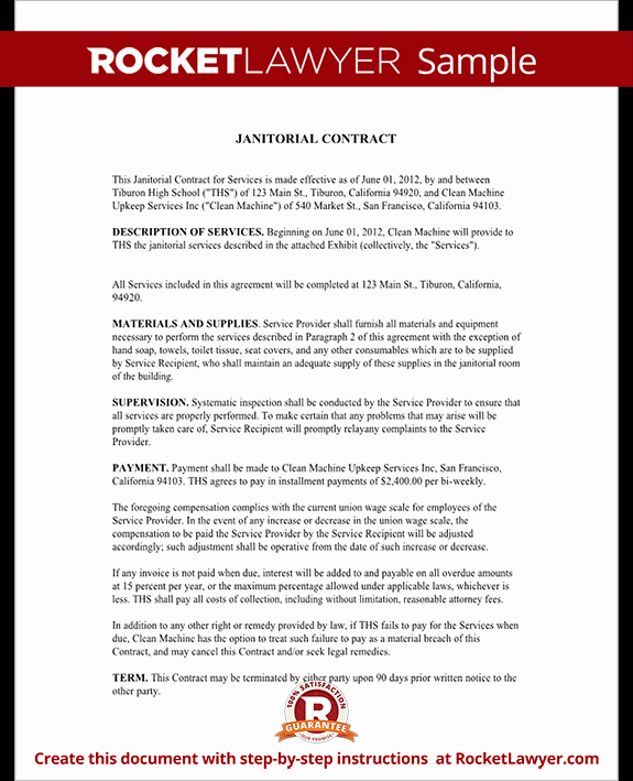 Sample Janitorial Contract Unique Janitorial Services Contract Janitorial Contract with