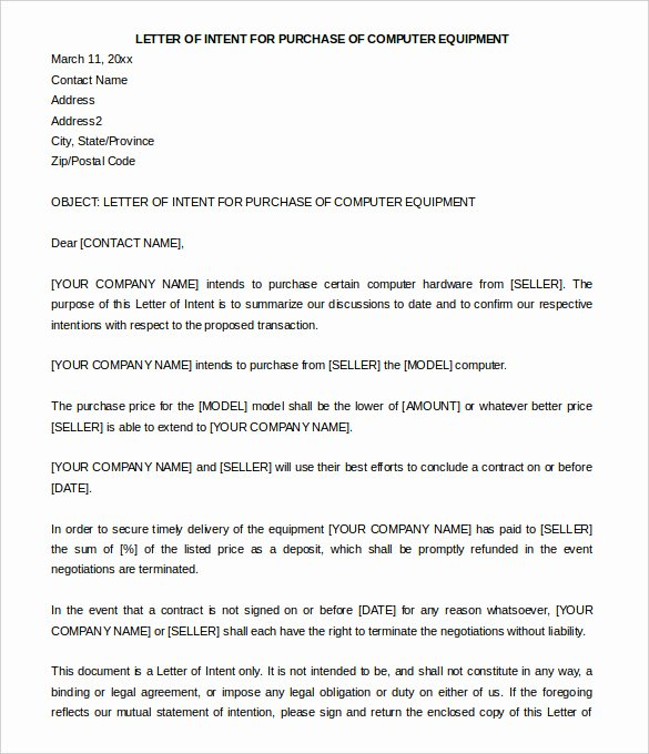 Sample Justification Letter for Purchase Of Equipment Elegant Letter Intent to Purchase