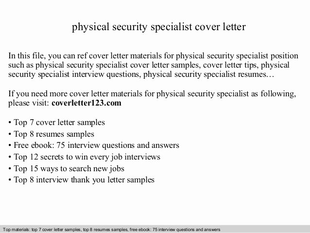 Sample Justification Letter for Purchase Of Equipment Elegant Physical Security Specialist Cover Letter