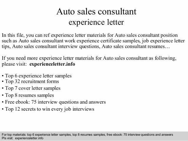 Sample Letter Of Collaboration Project Awesome Auto Sales Consultant Experience Letter