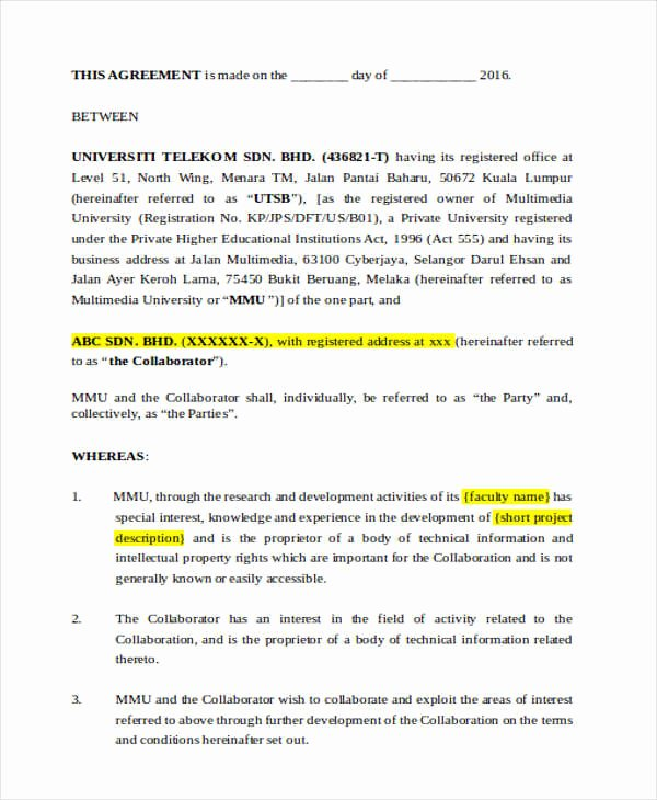 Sample Letter Of Collaboration Project Best Of Research Agreement Template Mincirmethode