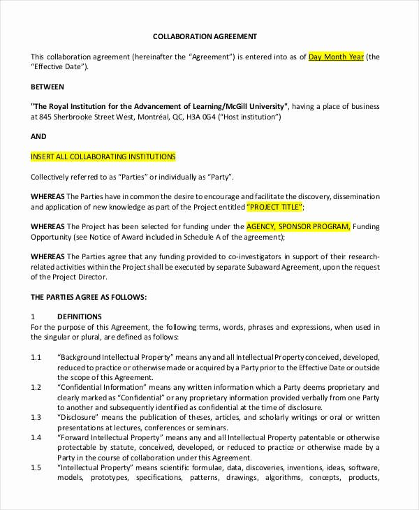 Sample Letter Of Collaboration Project Elegant 12 Collaboration Agreement Templates Word Pdf Apple