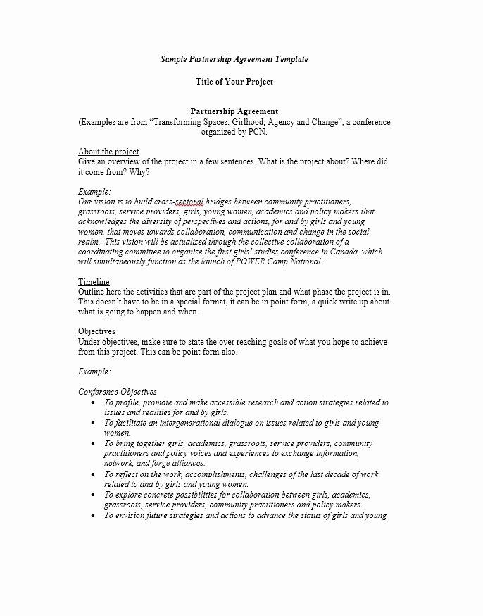 Sample Letter Of Collaboration Project New 40 Free Partnership Agreement Templates Business General