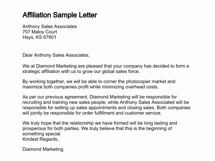 Sample Letter Of Collaboration Project Unique Letter Of Affiliation