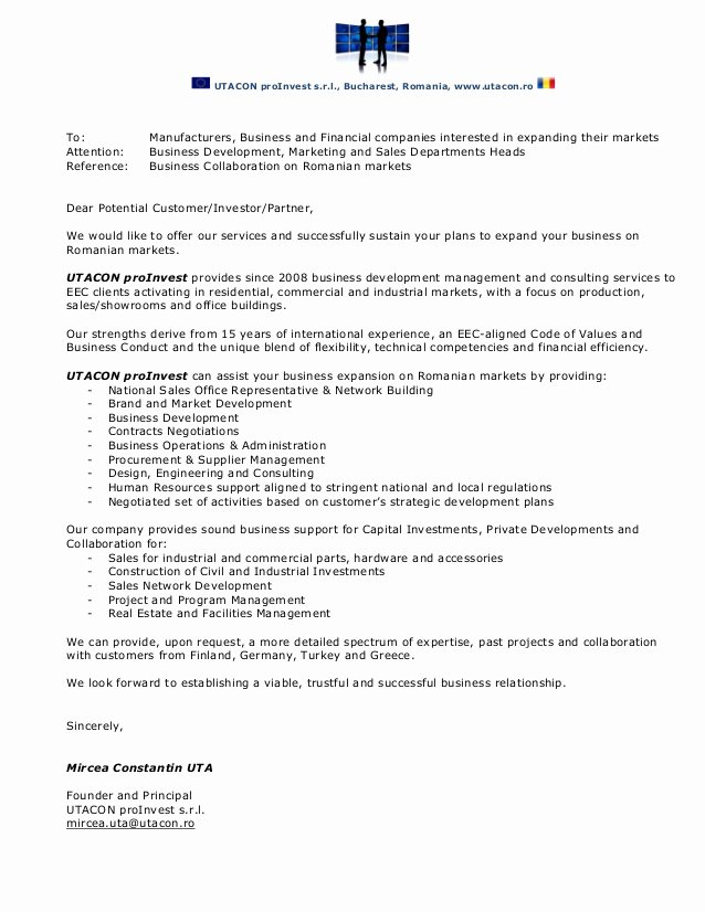 Sample Letter Of Collaboration Proposal Elegant Utacon Proinvest Business Collaboration Letter