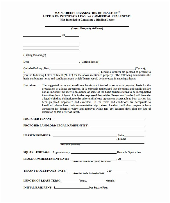 Sample Letter Of Intent to Lease Commercial Retail Space Beautiful Free Intent Letter Templates 18 Free Word Pdf
