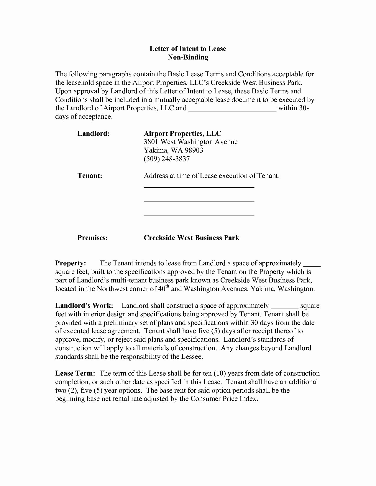 Sample Letter Of Intent to Lease Unique Letter Intent to Lease Mercial Space Template
