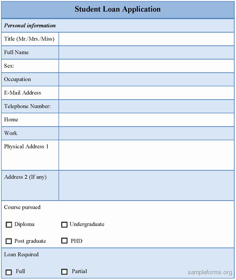 Sample Loan Application form Elegant Student Loan Application form Sample forms