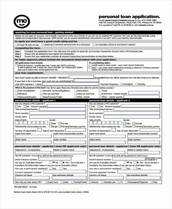 Sample Loan Application form Fresh Application forms Example