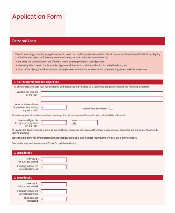 Sample Loan Application form Lovely 74 Sample Application forms In Pdf
