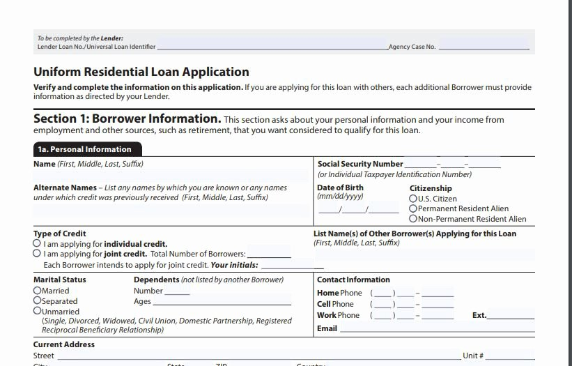 Sample Loan Application form Lovely the 1003 Mortgage Application form Definition