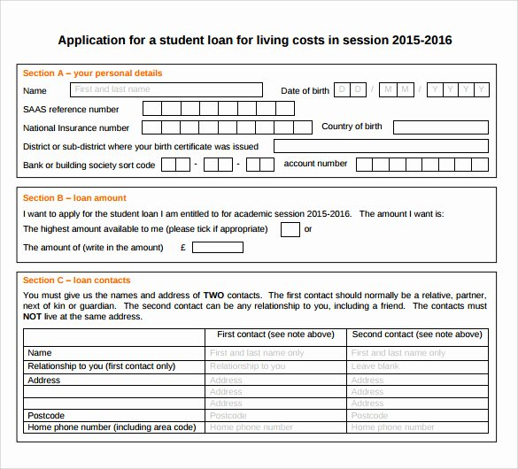 Sample Loan Application form Luxury 8 Students Loan Application forms to Download for Free