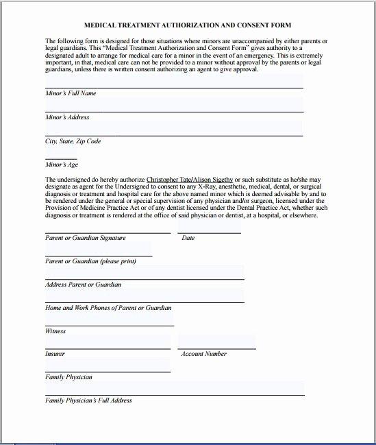 Sample Medical Release forms Best Of Sample Medical Consent form