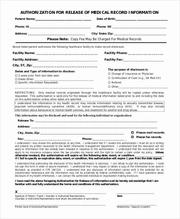 Sample Medical Release forms Elegant 9 Sample Medical Records Release forms