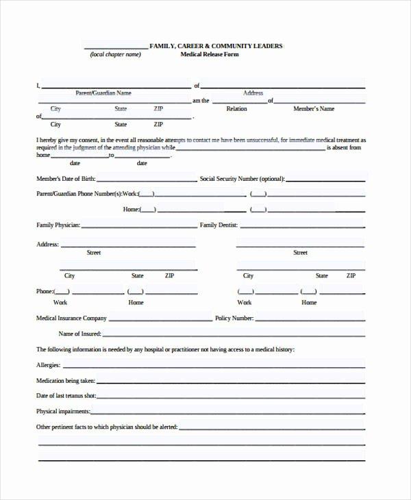 Sample Medical Release forms Elegant Patient Release form Template