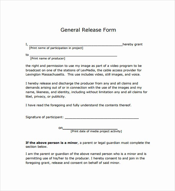 Sample Medical Release forms Inspirational General Release form 7 Free Samples Examples & formats