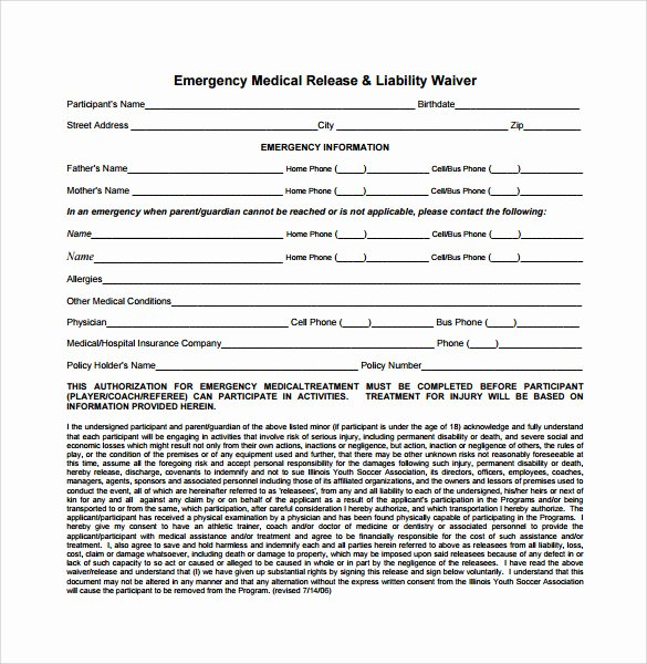 Sample Medical Release forms Luxury 9 Liability Release forms – Samples Examples & formats