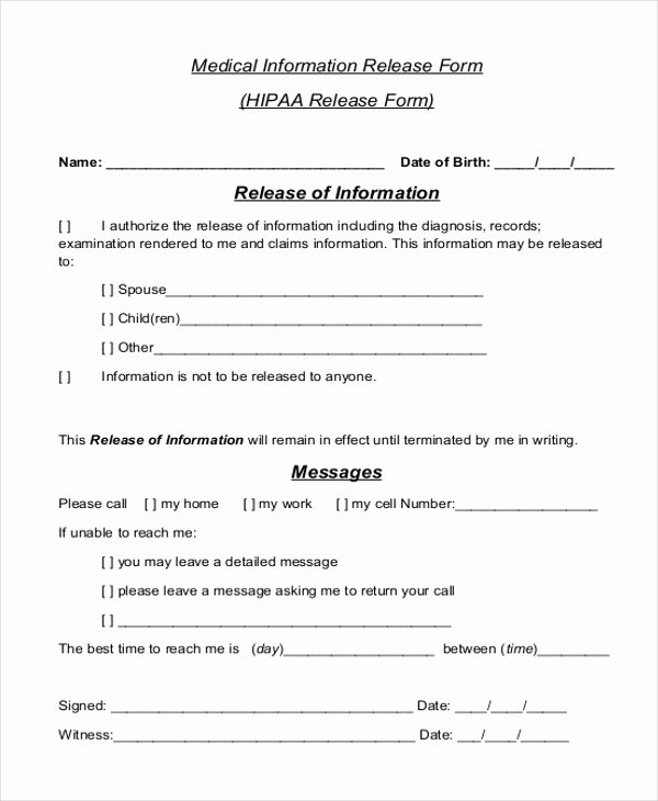 Sample Medical Release forms New Sample Medical Release form 11 Free Documents In Word Pdf