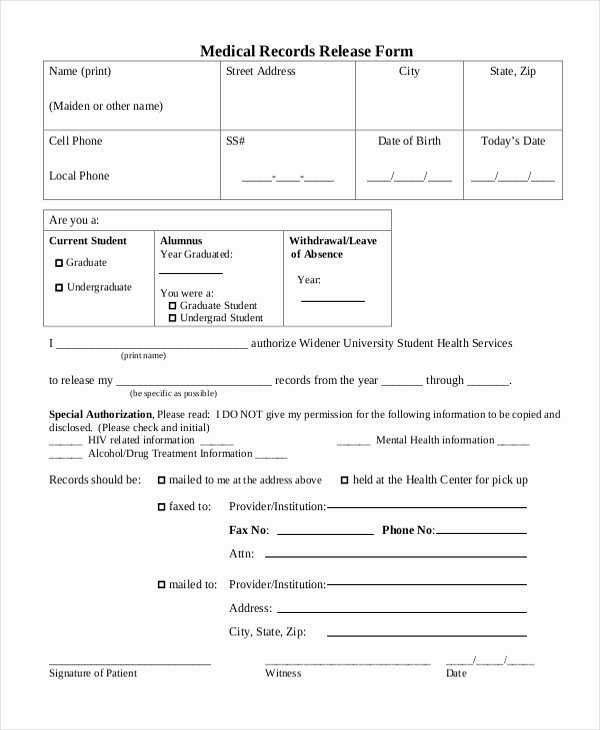 Sample Medical Release forms Unique Sample Medical Records Release form 10 Free Documents