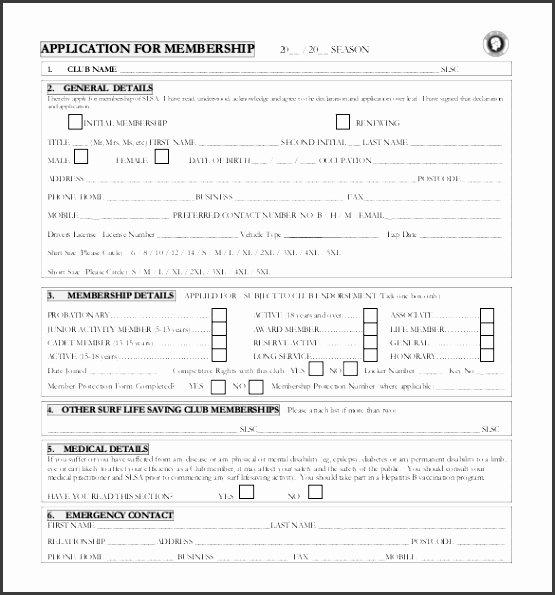 Sample Membership Application Beautiful 10 Membership Application form Template Sampletemplatess